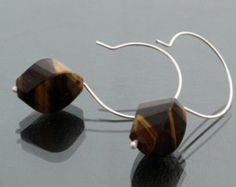 Faceted tiger eye on large sterling silver wire earrings