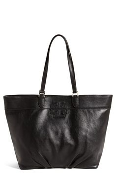 $475, Black Leather Tote Bag: Tory Burch Stacked T Leather Tote Black. Sold by Nordstrom. Click for more info: https://lookastic.com/women/shop_items/132282/redirect