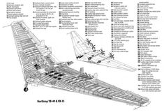 Northrop and cutaway Aircraft Parts, Ww2 Aircraft, Military Aircraft, Military Weapons, Delta Wing, Flying Wing, Military Pictures, Vintage Airplanes, Space Travel