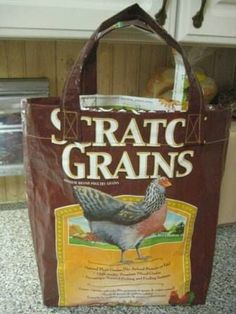 Feed sack tote bag...which should I start with first; cat food, dog food, oats, corn, lamb feed, horse feed?  :)