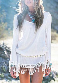 White Plain Lace Tassel Long Sleeve Sexy Evening Party Beach Chiffon Mini Dress