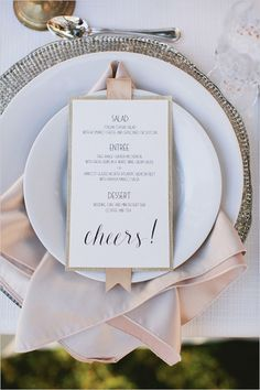 cheers wedding menu with a Lamour Cashmere napkin from @nvlinens for a champagne touch!