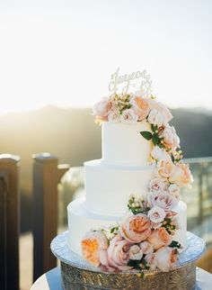 Vanilla Buttercream Wedding Cake with Cascading Flowers by Colette's- Colette's Events Blog