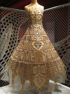 "This wooden ""lace"" gown by On Aura Tout Vu is on display at the Lace and Fashion Museum in Calais, France."