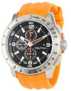 15d9233ae20 Nautica Men s NST 101 N17568G Orange Resin Quartz Watch with Black Dial