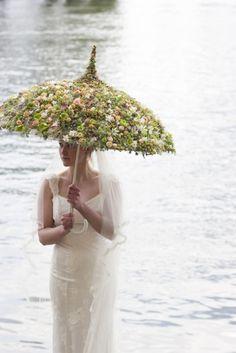 wedding parasol adorned with flowers www.vintageandlace.com