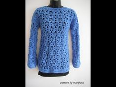 how to crochet pullover, sweater, free pattern tutorial for beginners - YouTube