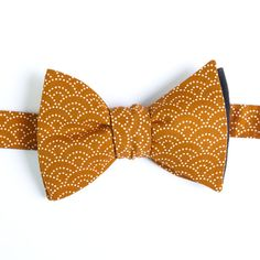 Nœud papillon Eventail Ocre Ochre Fan Japanese bow tie