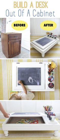 Never throw away old furniture and pieces like an old cabinet! Upcycle an unfinished cabinet into the perfect work station with a built in desk organizer and storage! How amazing is this? Full DIY he (Diy Desk Organizers) Refurbished Furniture, Repurposed Furniture, Furniture Makeover, Desk Makeover, Repurposed Items, Cabinet Makeover, Unfinished Cabinets, Old Cabinets, Kitchen Cabinets