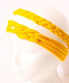 Reversible T SHIRT HEADBAND celtic knot/ bow or 5 Strand Braid T Shirt Headband GOLD. $5.00, via Etsy.