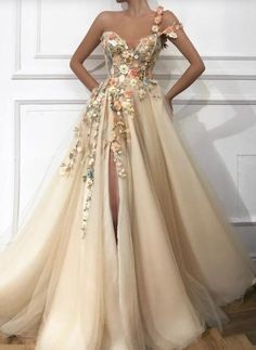 Flower prom dress - Stylish One Shoulder Strap Tulle Prom Dress Sexy Sweetheart Front Slit Appliques Flowers Prom Dress – Flower prom dress Evening Dresses Uk, A Line Prom Dresses, Tulle Prom Dress, Ball Dresses, Sexy Dresses, Elegant Dresses, Prom Dresses Flowers, Summer Dresses, Corset Prom Dresses