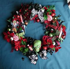 Items similar to Zombie Creepy Christmas Horror Wreath Made To Order Now Available on Etsy Zombie Christmas, Dark Christmas, Christmas Snowman, All Things Christmas, Christmas Gifts, Christmas Ideas, Halloween Decorations, Christmas Decorations, Halloween Wreaths