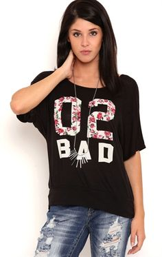 Deb Shops Short Sleeve Banded Dolman Top with 02 Bad Screen and Crochet Back $21.00