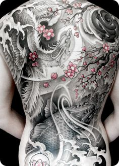 Asian inspired back piece by Johan Finné - loving the touch of pink in this b&w piece. This is absolutely gorgeous!! HUGE but gorgeous!!