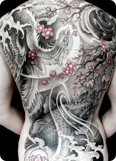 Asian inspired back piece by Johan Finné  #InkedMagazine  #Asian #back  #cherryblossom floral  #blackandgrey #tattoos #inked #tattoo #art #stream