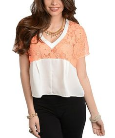 Love this Ivory & Orange Sheer Floral Lace Silk-Blend Top on #zulily! #zulilyfinds