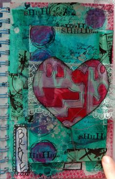 The Documented Life  week 4   a secret message   : mixed media art journal page Love the tip in...I need to do this more often in my journal also.