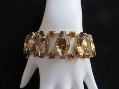Juliana Bracelet, Vintage Brown, Amber Rhinestone Bracelet, DeLizza & Elster Link Bracelet, Bridal Jewelry