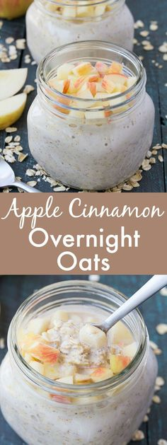 An easy recipe for Apple Cinnamon Overnight Oats. A healthy, make ahead breakfast for busy mornings! | http://www.kristineskitchenblog.com /bobsredmill/ #sponsored (Diabetic Apple Recipes)
