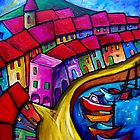 COLOURFUL PORT OF CORRICELLA - ITALY. by ART PRINTS ONLINE         by artist SARA  CATENA