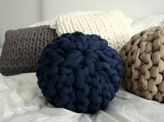 Super Chunky Knit Sphere Pillow - Midnight Blue
