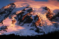 South face of Mt. Rainier at sunrise, Mt. Rainier National Park, Washington # 1777
