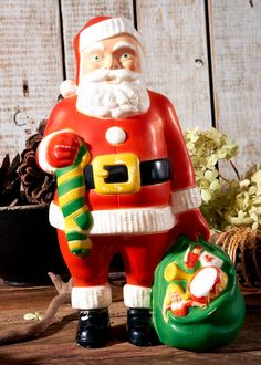 vintage retro 1950s hard plastic molded jovial mid century santa claus with christmas stocking and bag of toys christmas decoration - 1950s Outdoor Christmas Decorations