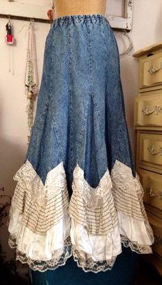 upcycled denim skirt.