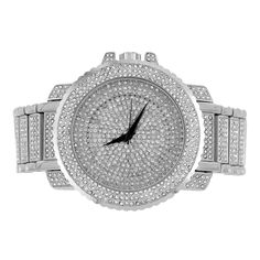 Men Hip Hop Iced Out White Techno Pave Bling Rapper Watch