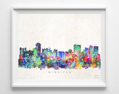 Winnipeg Skyline Watercolor Print