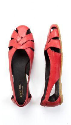 SHOEBIZ sandale flechtmuster red - - Kauf Dich gluecklich