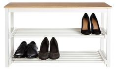 2 tier shoe rack with solid wood top and lily white frame