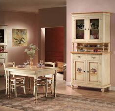 Židle v barvě slonové kosti, sedák slaměný výplet   Eunivers Italian Furniture, Classic Furniture, Rustic Furniture, Corner Sofa, China Cabinet, Liquor Cabinet, Shabby Chic, Dining Room, House Design