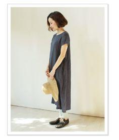 nofl リネン半袖ワンピース コーディネイト02