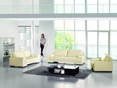 American Eagle 3 PCs. Ivory Bonded Leather Sofa Set AE123-IV
