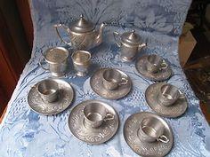 Antique 1800s VICTORIAN FAUX PEWTER CHILDS TEA SET 16pc Teapot Waste Bowl 6cup | eBay