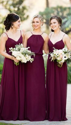 Burgundy Bridesmaid Dresses, Chiffon Bridesmaid Dresses, Long Chiffon Bridesmaid Dresses, Long Bridesmaid Dresses, Long Chiffon dresses, Chiffon Dresses Long, Bridesmaid Dresses Chiffon Spaghetti Straps Long Bridesmaid Dresses