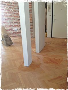 Beech parquet .. the new part between the wall and ... other walls..