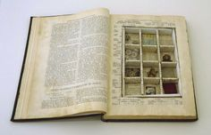"""Joseph Cornell: Untitled (To Marguerite Blachas), circa """"Book-object made with volume XXII of 'Journal d'agriculture practique' (Paris, containing several small objects, magazine clippings, fabric and synthetic hair"""" Joseph Cornell Artwork, Joseph Cornell Boxes, Altered Books, Altered Art, Photocollage, Book Sculpture, Gcse Art, Assemblage Art, Art Plastique"""
