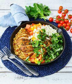 Clean Eating One Pan Greek Chicken Rice Recipe