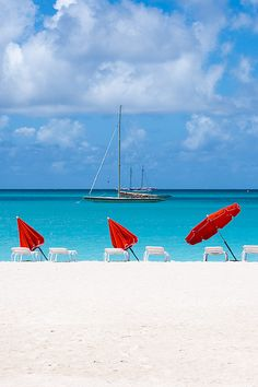 White sandy beaches in St. Maarten.
