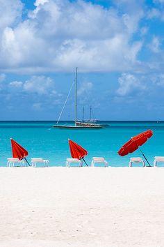 White sandy beaches in St. Maarten.