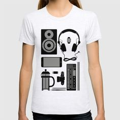 Objects T-shirt #speaker #headphones #op1 #frenchpress #leica #iphone6 #everydayobjects #graphicdesign #fashion #illustration #rickardarvius #tshirt #fashion #society6 #society6store