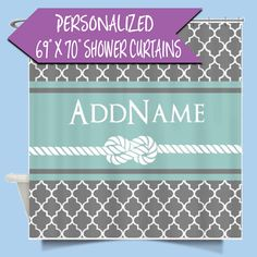 Personalized Name Shower Curtain | Custom Shower Curtain | Gray and Mint Quatrefoil Rope Personalized Shower Curtain | Personalized Bath http://etsy.me/2DN096J #housewares #bathroom #monogrammed #monogram #quatrefoil #pattern #showercurtains #personalizedshower #custom