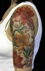ea86c1ce2 Women Flower Sleeve Tattoo Quarter Sleeve Tattoos, Half Sleeve Tattoos  Designs, Tattoos For Women