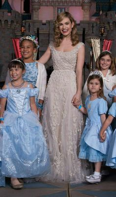 """Lily James in Elie Saab Couture attends the Disneyland screening of """"Cinderella"""". dress obsessed"""
