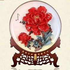 国色天香牡丹瓷花盘艺术品
