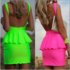 Neon Peplum Dresses- obsessed w neon this summer #dollface #dollfacecompany http://www.dollfacecompany.com