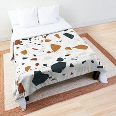'Terrazzo Stone Pattern (Navy + Terracotta + Mustard)' Comforter by NeptuneDesigns College Dorm Rooms, Square Quilt, Terrazzo, Terracotta, Quilt Patterns, Mustard, Comforters, Duvet Covers, Printed