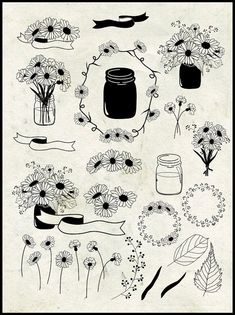 Daisy Clip Art in Mason Jars, Wreaths, Bouquet - Hand Drawn - Chalkboard… White Daisy Tattoo, Daisy Chain Tattoo, Flower Bouquet Tattoo, Flower Tattoos, Daisies Tattoo, Mason Jar Tattoo, Kranz Tattoo, Daisy Drawing, Mason Jars